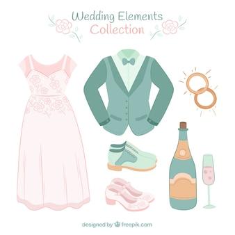ウェディングドレスと他の装飾的な要素を持つパック