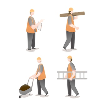 Pack of worker character illustrations