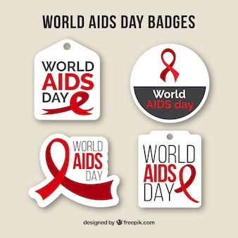 Pack of world aids day badges in flat design