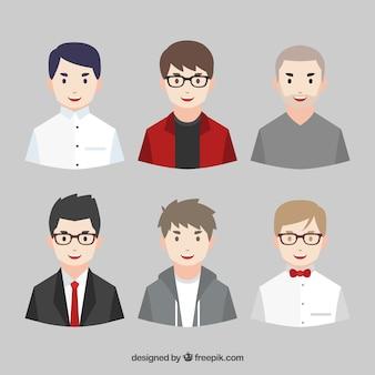 Pack of young men avatars Premium Vector