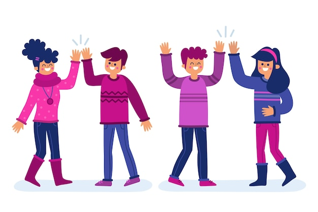 Pack of young people waving hand