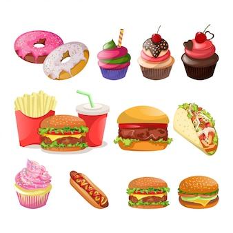 Вкусная еда pack иллюстрация