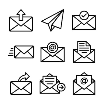 Электронная почта линия иконки pack