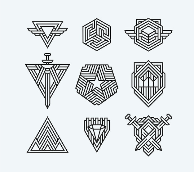 Package of abstract geometric symbols, line logotypes and  elements.