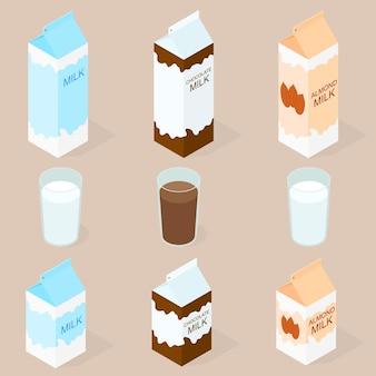 Package of almond milk chokolate milk and cow milk isometric milkshake in glass big and small box