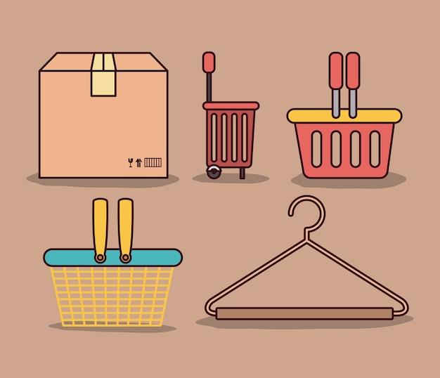 Упаковка и корзины для покупок и рубашка для крючков
