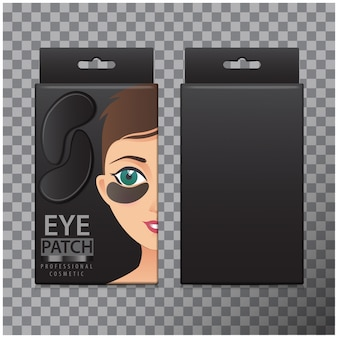 Package of black hydrating under eye gel patches.  illustration of box with realistic eye gel patches