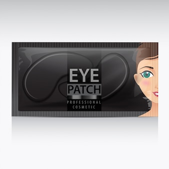 Package of black hydrating under eye gel patches.  illustration of realistic eye gel patches on white background