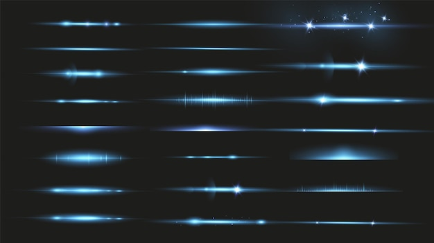 パッケージブルーの水平レーザービーム、グレア、光線、光るストライプ