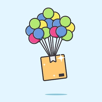 Package box delivery from air by balloon illustration