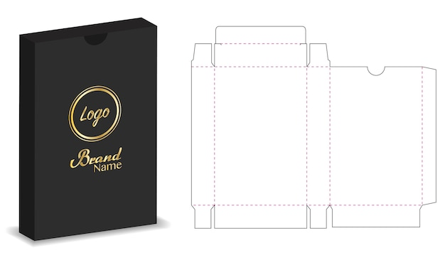 Package box die cut with 3d mock up