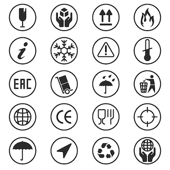 Package box symbols set