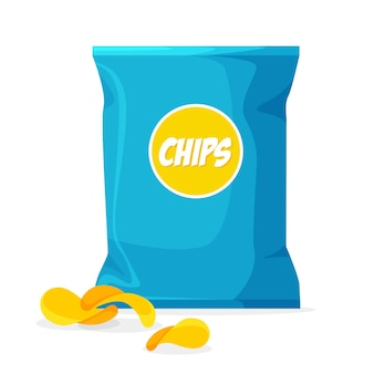 Package of chips in trendy cartoon style with label. crisps packaging template.