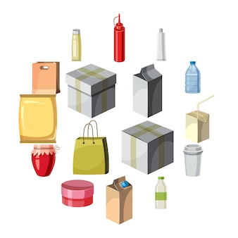 Package container icons set, cartoon style
