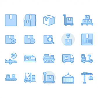 Package delivery and logistic related icon set