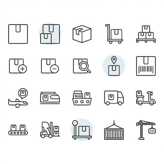 Package delivery and logistic related icon and symbol set in outline