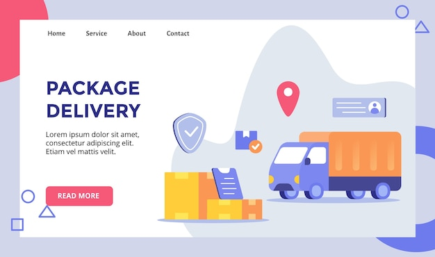 Package delivery shipping truck background of box package for web website home homepage landing page template