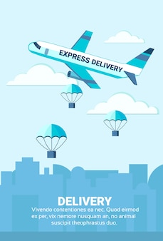 Package flying parachutes airplane unloading express delivery service concept