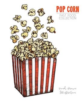 Пакет с попкорном и кукурузой. классическая полосатая бело-красная картонная коробка