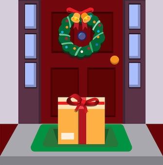 Package gift box in doorstep flat