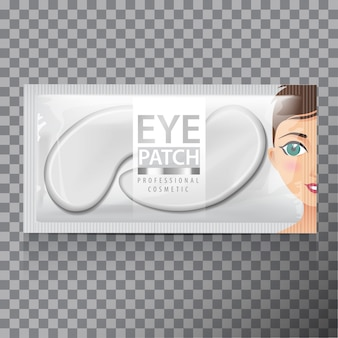 Package of hydrating under eye gel patches.  illustration of realistic eye gel patches on transparent background
