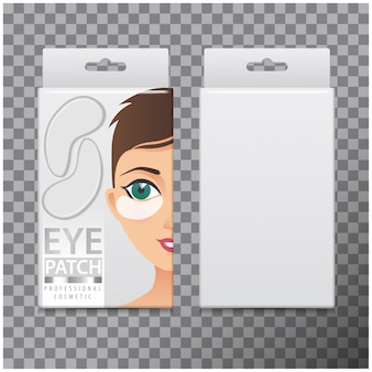 Package of hydrating under eye gel patches.  template of box with eye gel patches