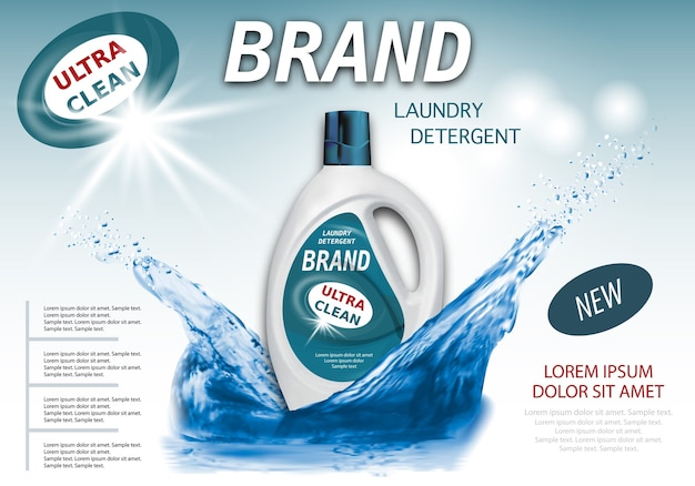 Package for liquid detergents ads with water splash.