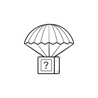 패키지 낙하산 airdrop 손으로 그린 개요 낙서 아이콘. 하늘에서 온 선물, 패키지, 배달 개념을 받으십시오. 인쇄, 웹, 모바일 및 흰색 배경에 인포 그래픽에 대한 벡터 스케치 그림.
