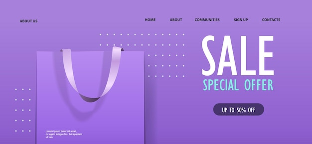 Package for purchases colorful paper shopping bag special offer sale discount concept horizontal illustration