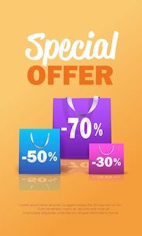 Package for purchases colorful paper shopping bag special offer sale discount concept vertical illustration