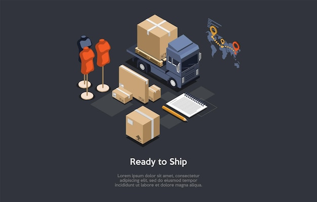 Package ready to ship, order transportation concept. isometric composition, cartoon 3d style illustration. vector design. clothes store, online trade, worldwide service. loaded van, cardboard boxes.