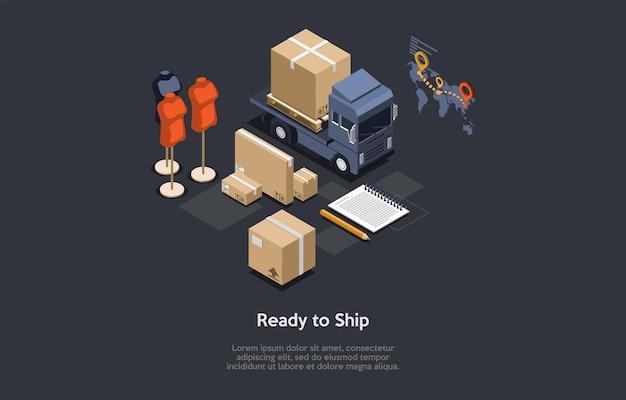パッケージはすぐに出荷でき、輸送コンセプトを注文できます。等角投影、漫画の3dスタイルのイラスト。ベクトルデザイン。衣料品店、オンライントレード、ワールドワイドサービス。ロードされたバン、段ボール箱。