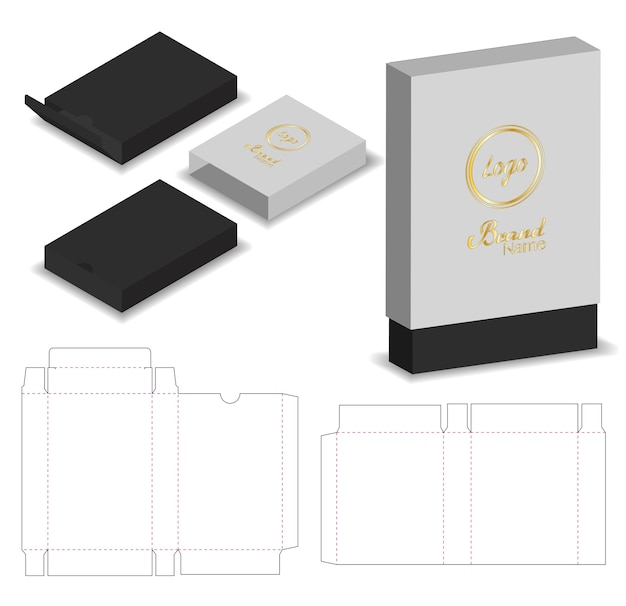Package sleeve box die cut with 3d mock up