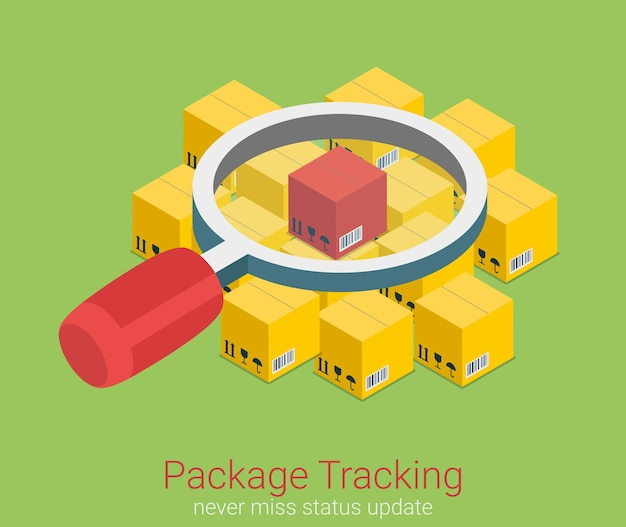 Package status place tracking flat isometric