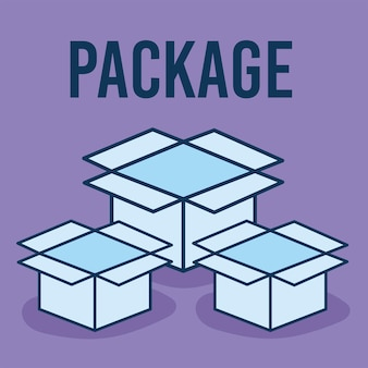 Package text and set of boxes icons