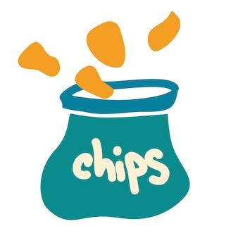 漫画風のチップとパッケージ。ポテトチップスの袋からチップがこぼれます。食品および飲料事業のアイコン、ポテトスナックブランド要素のロゴのベクトル。