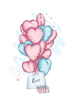 Package with gift and heart balloons