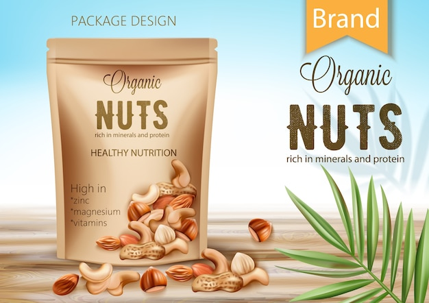 Package with organic product surrounded by palm leaf and nuts. rich in minerals and protein. healthy nutrition, high in zinc, magnesium and vitamins. realistic