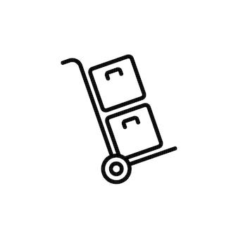 Доставка посылок на тележке значком черного цвета. ручная тележка. вектор на изолированном белом фоне. eps 10.