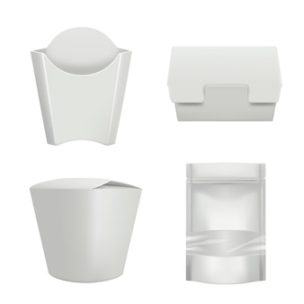 Packages for food. plastic containers for delivery coffee cup hamburger or sandwich bag cardboard box