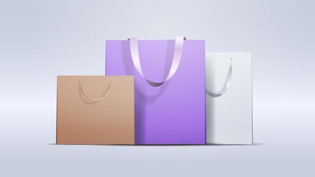 Пакеты для покупок красочные бумажные пакеты для покупок специальное предложение распродажа скидка концепция горизонтальная иллюстрация