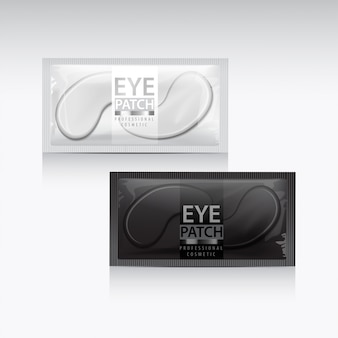Packages of hydrating under eye gel patches.  illustration of realistic eye gel patches