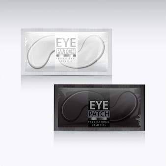 Пакеты увлажняющих гелевых пластырей под глазами. иллюстрация реалистичных глазных пластырей геля