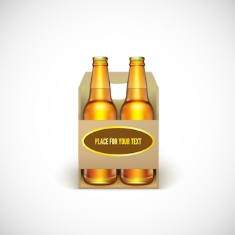 Packaging of beer. realistic yellow bottles