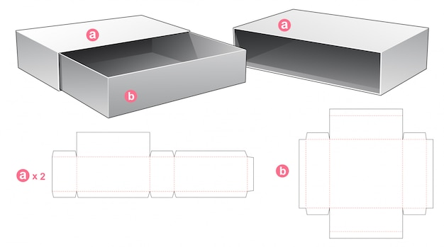Packaging box and 2 cover die cut template