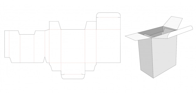 Packaging box and insert die cut template