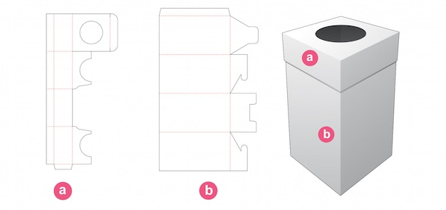 Packaging box and lid with round window die cut template