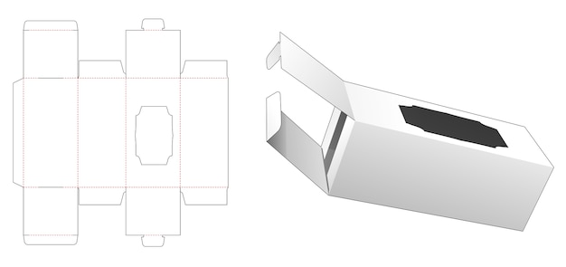 Packaging box with 2 flips and luxury window die cut template