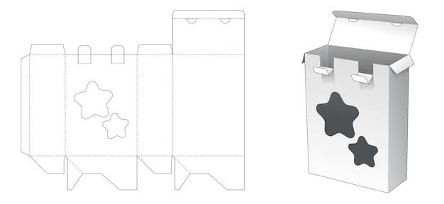 2 개의 잠긴 지점과 별 모양의 창 다이 컷 템플릿이있는 포장 상자