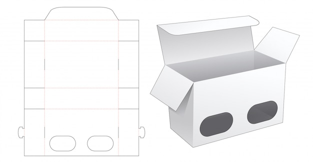 Packaging box with 2 window die cut template